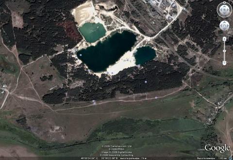 Так Гугль видит Голубое озеро из космоса.