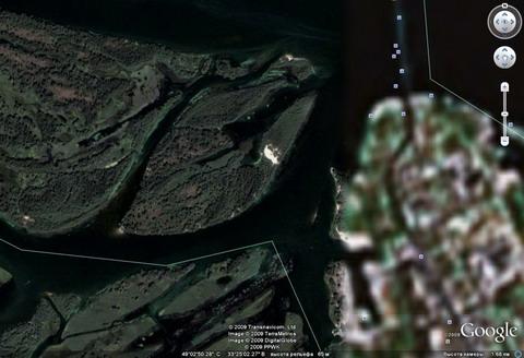 Так из космоса Гугль видит некоторые днепровские острова вблизи Кременчуга.