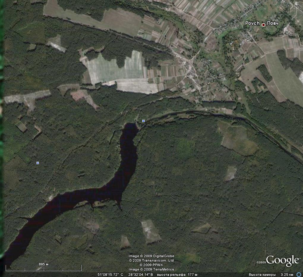 Вид села Повч и его окрестностей из Космоса.