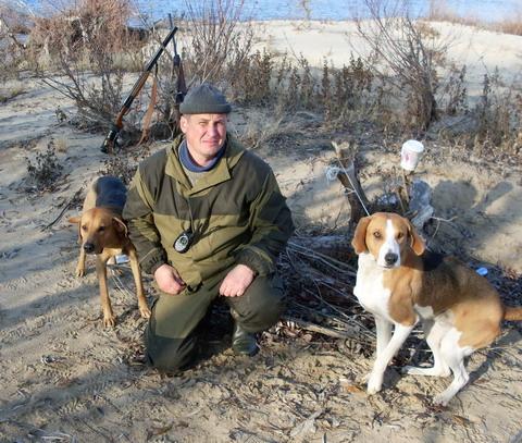 Охота в Астраханской области. Собаки - верные помощники охотника.