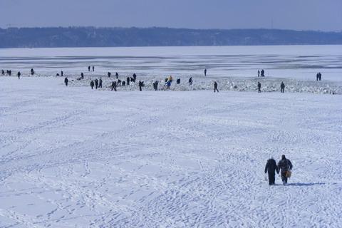 Гибель рыбы на Киевском водохранилище. Рыбаки на льду.