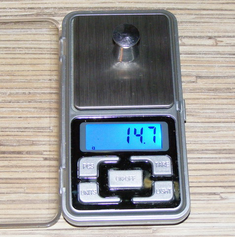 Масса пули 14.7 грамм.