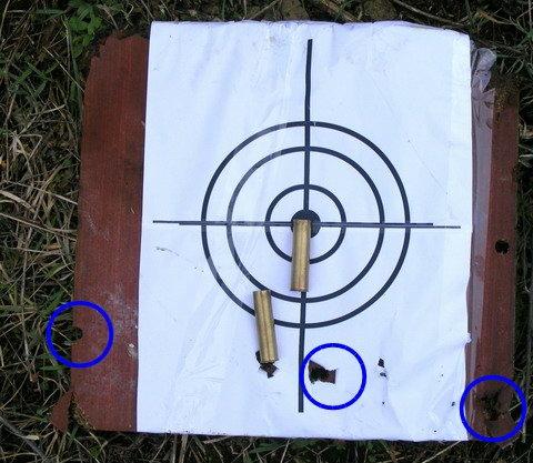 Отстрел подкалиберной пули Диаболо. Дистанция 35 метров.