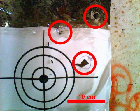 Результат отстрела пуль Бренекке подкалиберных.
