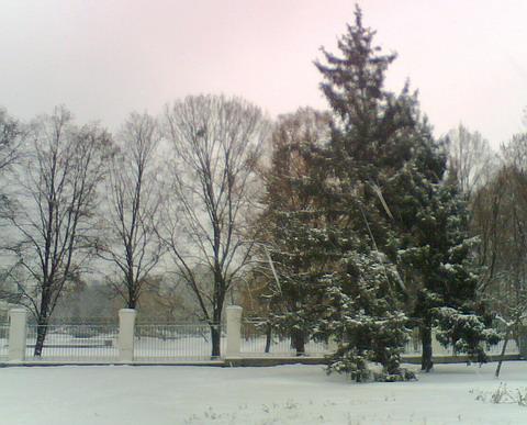 Снег в Киеве в районе ВДНХ.