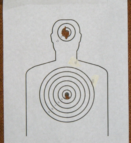 """Crosman 1077. Дистанция 3 метра. Диаметр точки 7 мм, диаметр кольца """"десятки"""" 15 мм."""