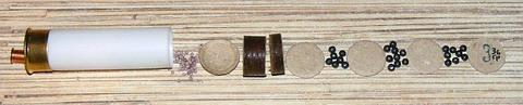 Патрон 12-го калибра. Дробь №3 36 грамм, разделенная на три части.