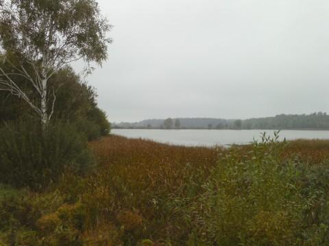 Вид на второе озеро с дамбы от первого озера.