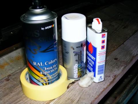 Материалы, использованные мной при покраске.