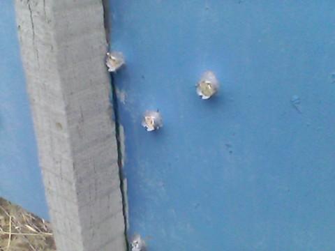 Результат попадания экспансивных пуль в стальной лист 1.5 мм с расстояния 50 метров